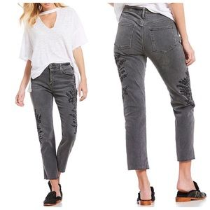 Free people gray Distressed Embroidered Jeans